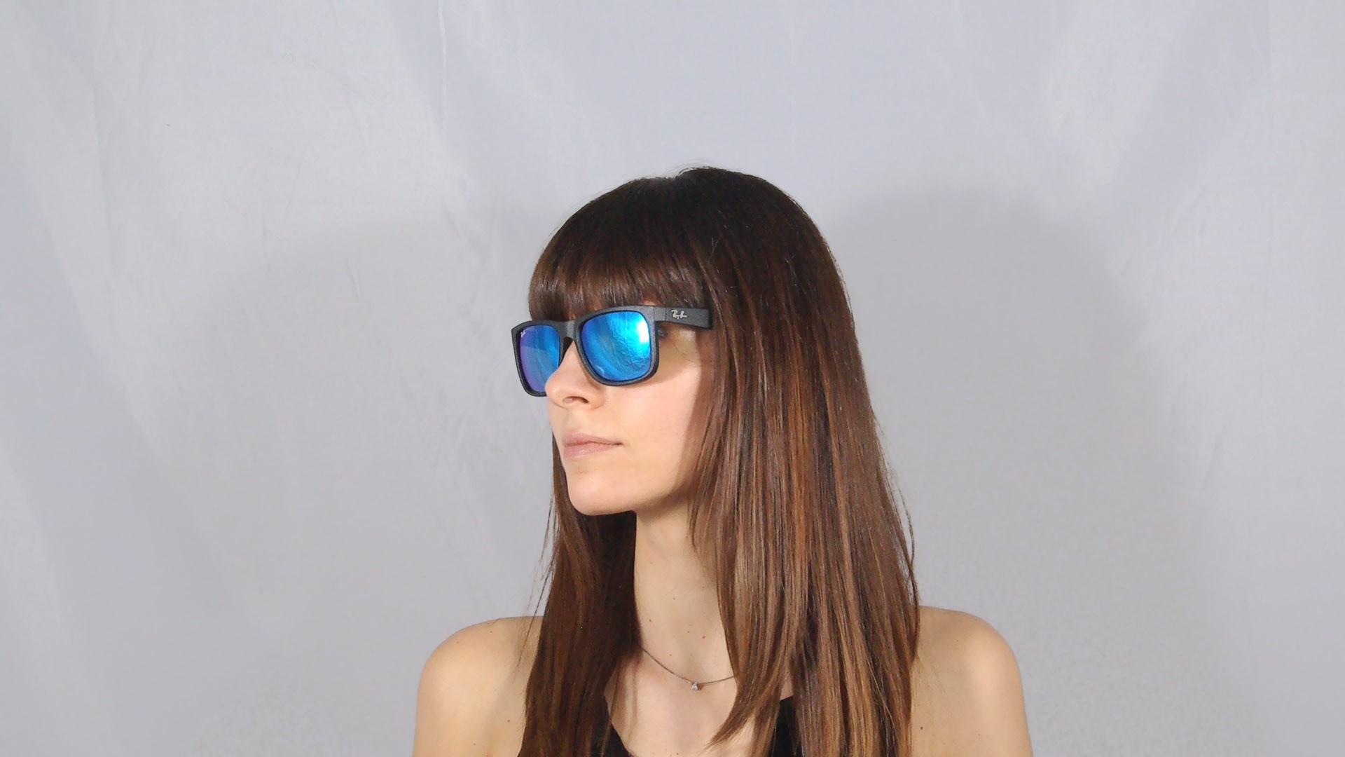 Ray Large Noir 62255 Rb4165 Ban 55 16 Verres Miroirs Bleus Justin 6Ybg7fvy