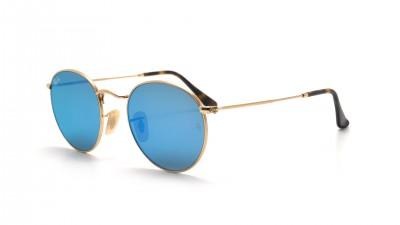 Ray-Ban Round Metal Flat Lenses Gold RB3447N 001/9O 50-21 Mittel Verspiegelte Gläser