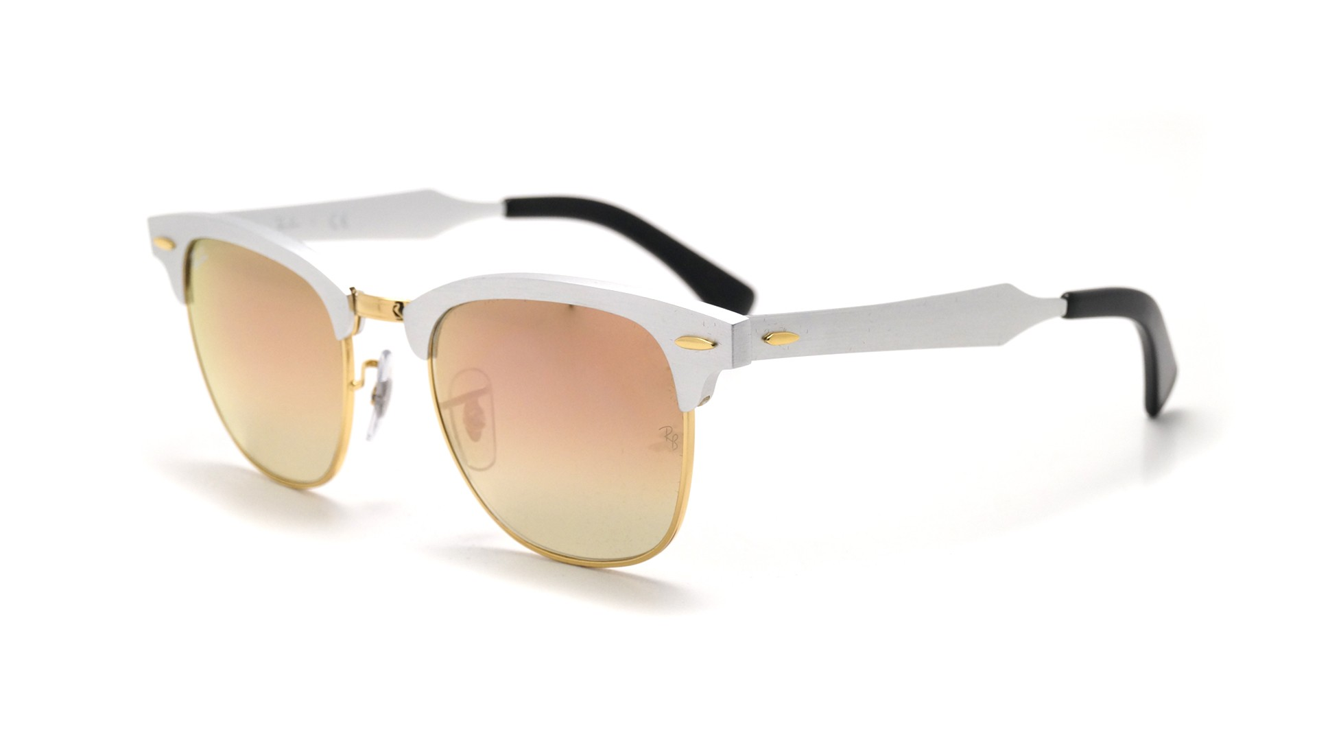 3e5bbcb585 ... real sunglasses ray ban clubmaster aluminium silver rb3507 137 70 49 21  small degraded flash 5b612
