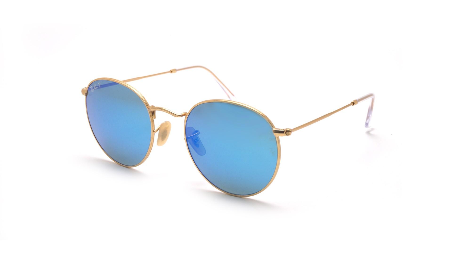 Ray Ban – Runde verspiegelte Sonnenbrille in Rosa