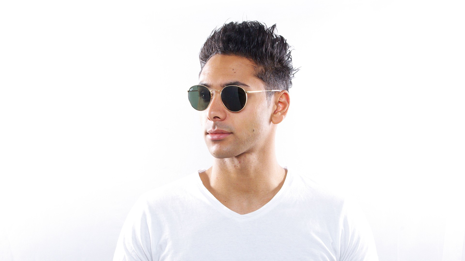 ray ban round metal sunglasses gold