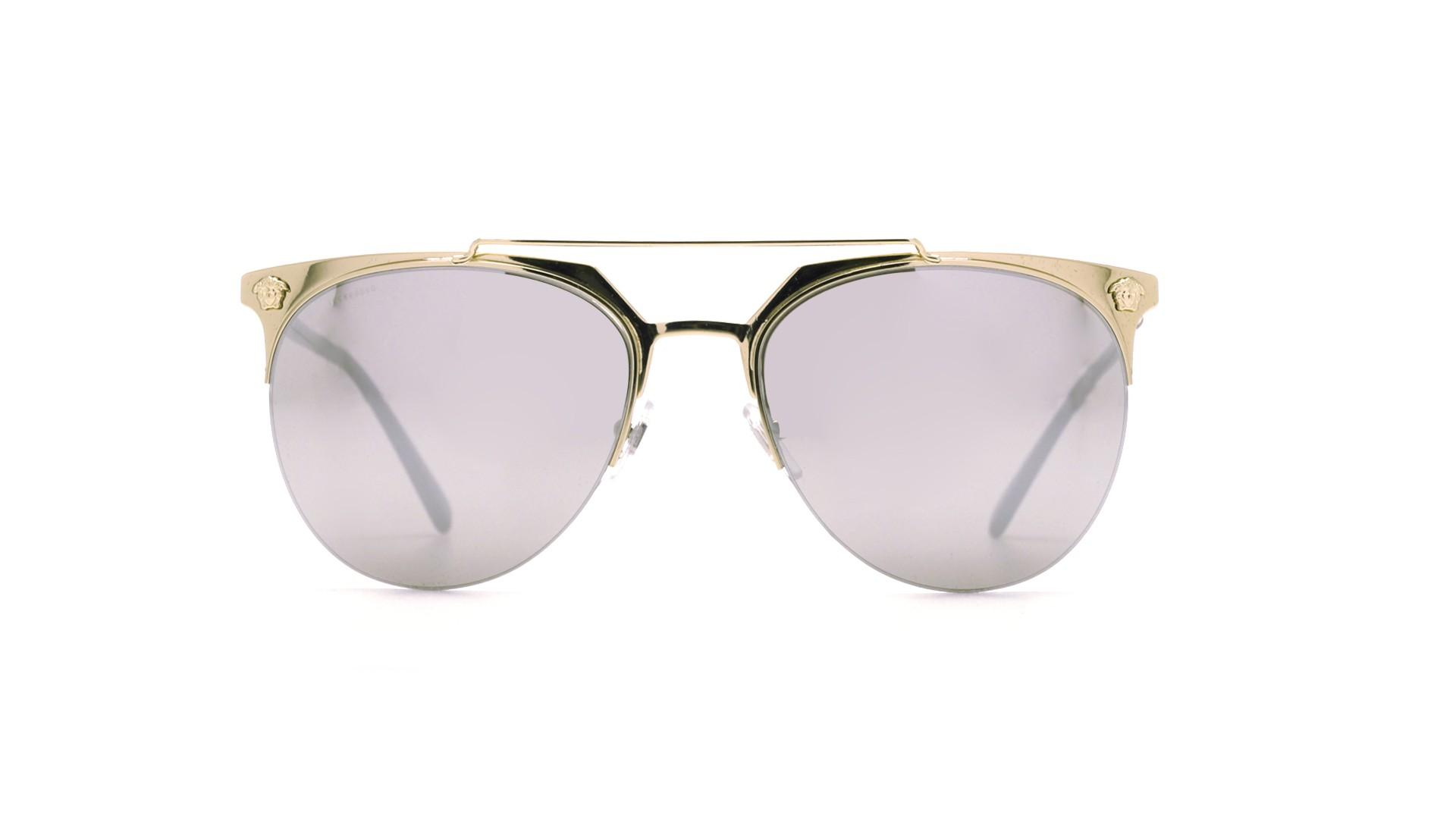 New Versace VE 2181 1252//6G Gold w//Light Grey Mirror Silver Sunglasses