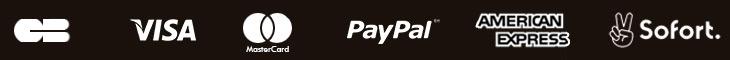 Paiement avec carte bleue, 4x sans frais, Paypal, American Express, SoFort